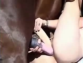 Brazilian pussy rammed by horsecock